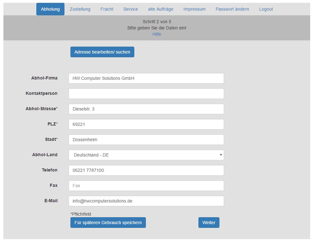 Individualsoftware für die Sendungserfassung einer Spedition / Kurier