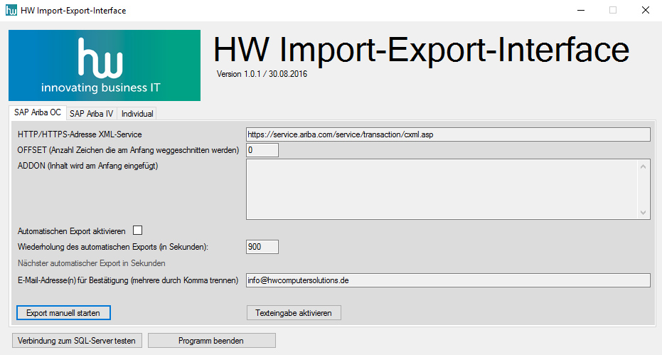 HW Import Export Interface SAP Ariba Sage